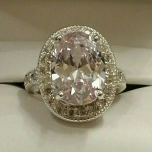 New Sterling Silver White Sapphire Ring 8